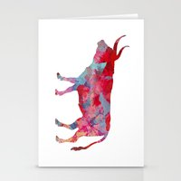 bull Stationery Cards featuring Bull by WatercolorGirlArt