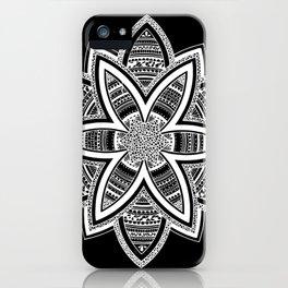 wholeness white mandala on black iPhone Case