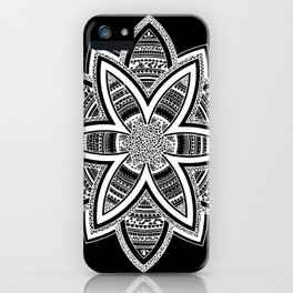 wholeness white mandala on black iPhone Case