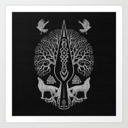 Gungnir - Spear of Odin and Tree of life  -Yggdrasil Art Print