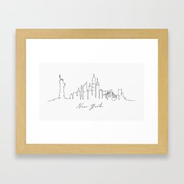 Pen line silhouette New York Framed Art Print