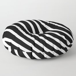 Black and white waved pattern Floor Pillow