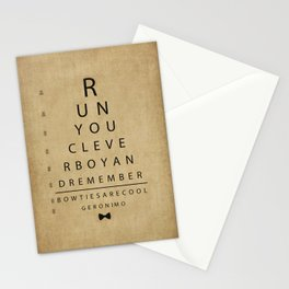 Run You Clever Boy - Doctor Who Inspired Vintage Eye Chart Stationery Cards