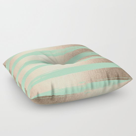 Green Floor Pillows : Painted Stripes Gold Tropical Ocean Green Floor Pillow by Simple Luxe Society6