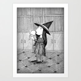 Little Witch Eating Ice Cream Art Print