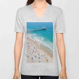 Manhattan Beach Drone Shot Unisex V-Neck