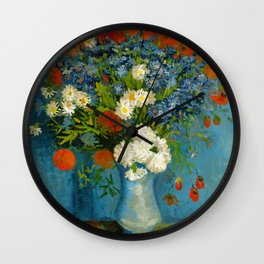 Vincent Van Gogh Vase With Cornflowers And Poppies Wall Clock