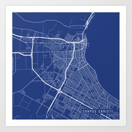 Corpus Christi Map, USA - Blue Art Print