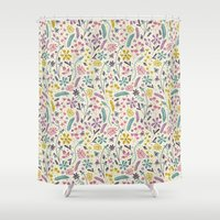 candy Shower Curtains featuring Retro Blooms (Candy) by Anna Deegan