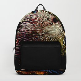 fish otter on a rock vector art Backpack