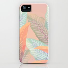 Vintage Tropical Fronds - Island Foliage Aged Pink Background iPhone Case