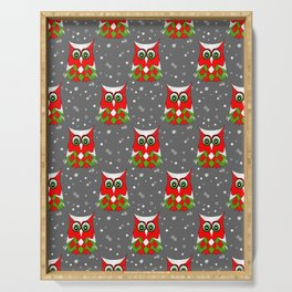 Christmas Snow Owl Pattern Serving Tray