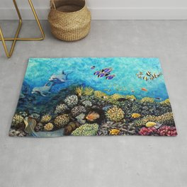 Take Me There - seascape with dolphins Rug