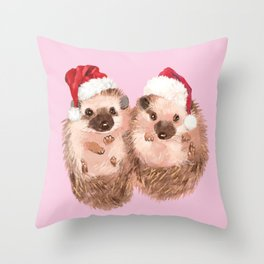 Christmas Twin Hedgehoge in Pink Throw Pillow
