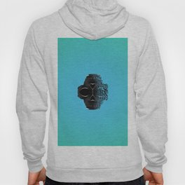 fractal black skull portrait with blue abstract background Hoody