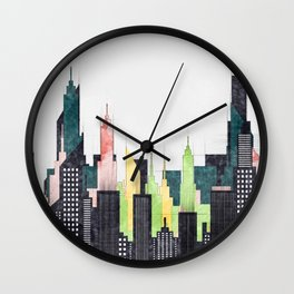 Colorful City Buildings And Skyscrapers Sketch, New York Skyline, Wall Art Poster Decor, New York Wall Clock