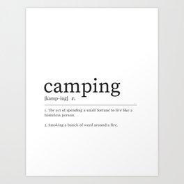 Camping Definition Print - Camping Dictionary Art Print