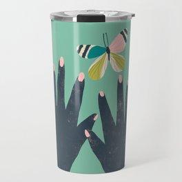 Hands and Butterfly Art Travel Mug