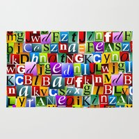 letters Area & Throw Rugs featuring Letters by Ronda Bröc