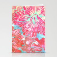 aelwen Stationery Cards featuring Blue Water Hibiscus Snowfall by Vikki Salmela