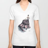 givenchy V-neck T-shirts featuring Audrey Hepburn in Pink dress vintage fashion by Notsniw