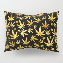 Black Gold Weed Pattern Pillow Sham