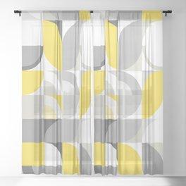 Sunny Bauhaus Geometry - Yellow & Grey Sheer Curtain