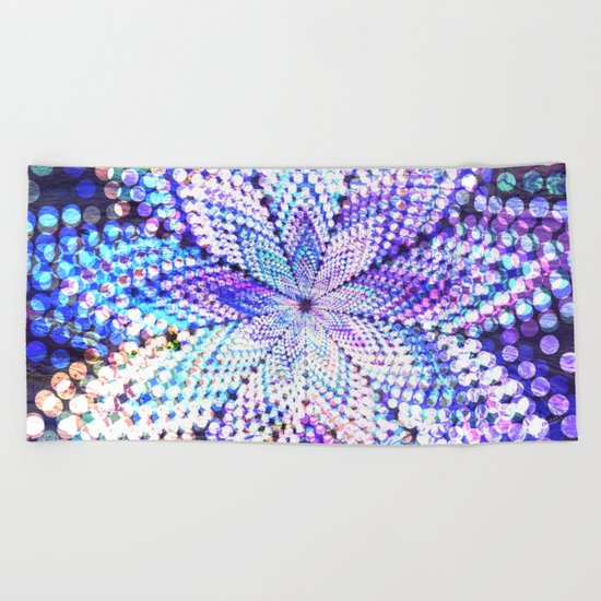 Flower Energy Bokeh Lights Beach Towel