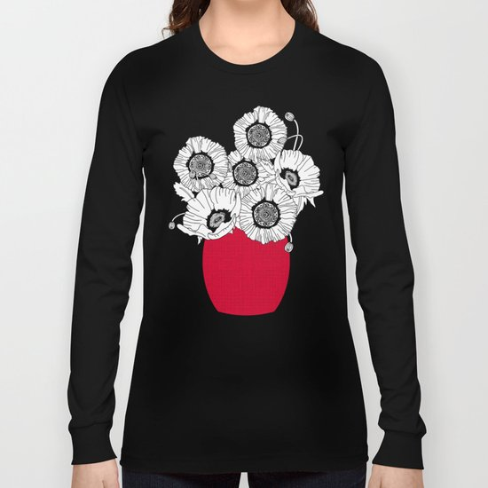 Black and White Poppies in a Red Vase Long Sleeve T-shirt