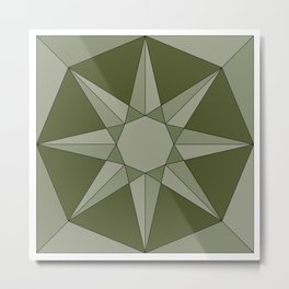 Green Herbal Sun - Geometric Mandala Metal Print