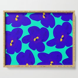 Large Blue Retro Flowers Turquoise Background #decor #society6 #buyart Serving Tray