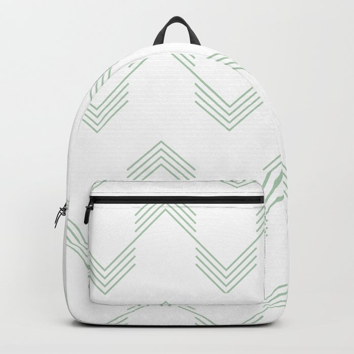 Deconstructed Chevron in Pastel Cactus Green on White Backpack