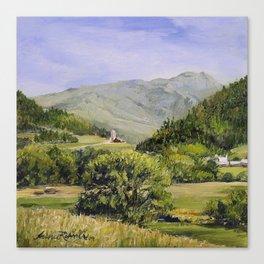 Pastures and Mount Mansfield Oil Landscape Vermont Painting Canvas Print