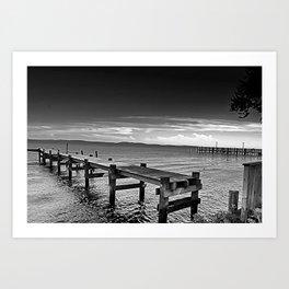Susquehanna Piers in Black and White, Havre de Grace, Maryland  Art Print