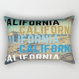 California Retro Beach Text Art Rectangular Pillow