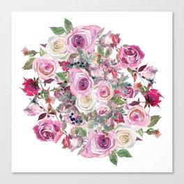 Bouquet of rose - wreath Canvas Print