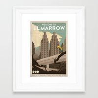 grim fandango Framed Art Prints featuring Grim Fandango Vintage Travel Poster - El Marrow by David MacKenzie