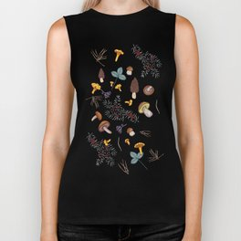 dark wild forest mushrooms Biker Tank