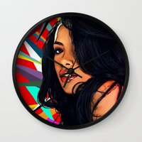 aaliyah Wall Clocks featuring Baby Girl by Fake Wealth
