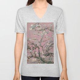 Almond Blossom - Vincent Van Gogh (pink pastel) Unisex V-Neck