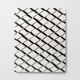 Modern Diamond Lattice Black on Light Gray Metal Print