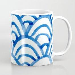 Handpainted Scallops Mermaid Scales Indigo Blue Coffee Mug