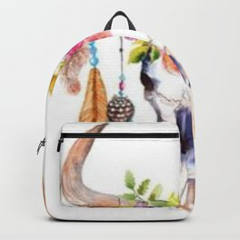 Floral and Feathers Adorned Bull Skull Backpack