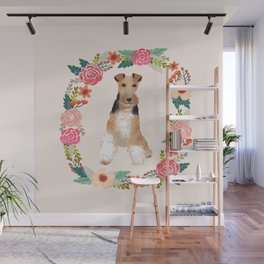 wite fox terrier floral wreath dog breed pure breed pet portrait Wall Mural
