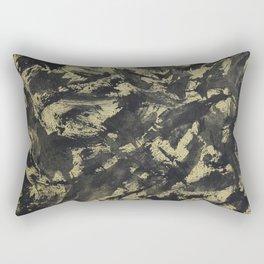 Black Ink on Gold Background Rectangular Pillow