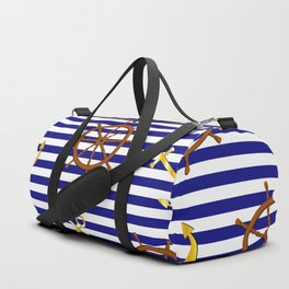Nautical pattern with gold anchor, ship steering wheel Duffle Bag