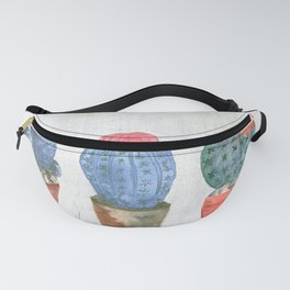 Three Blue Cacti watercolor Fanny Pack