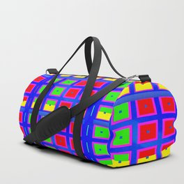 Digital Abstract with red squares on blue Duffle Bag