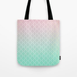 Moroccan pattern with mint, pink and gold Tote Bag