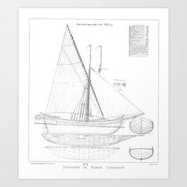 Vintage black & white sailboat blueprint drawing antique nautical beach or lake house preppy decor Art Print